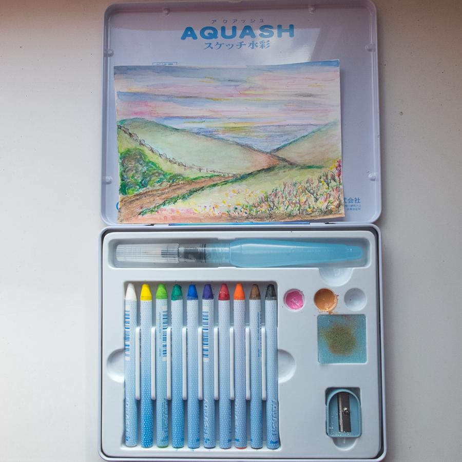 Pentel Aquash (crayons en waterbrush)