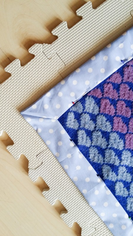 Corners stitched together