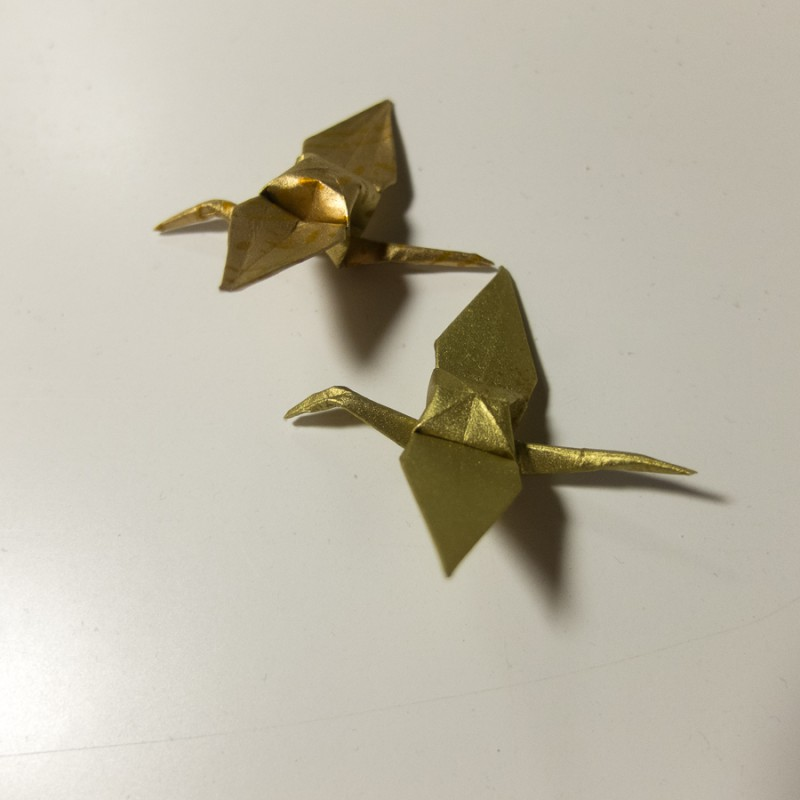 Two golden cranes, for good fortune