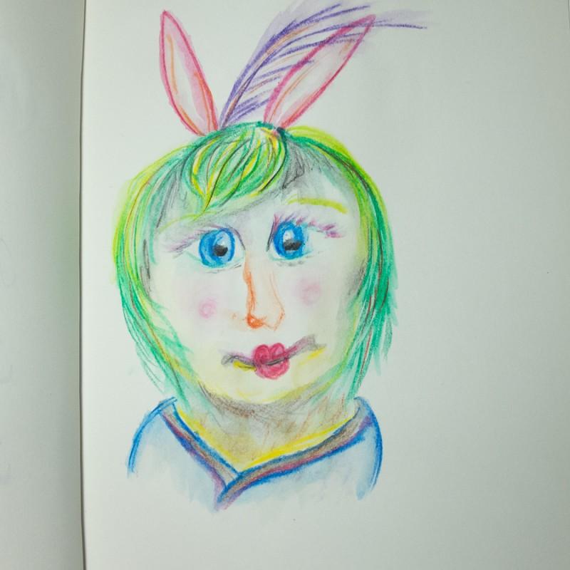 Green cross-eyed girl with bunny ears