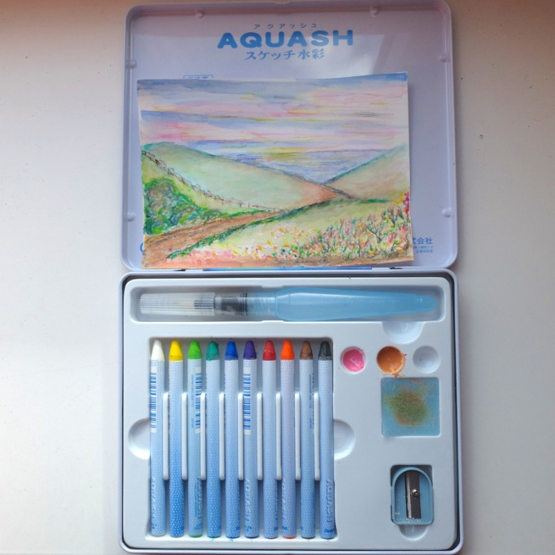 Painting on a postcard