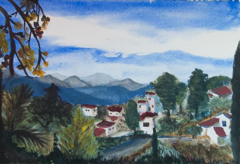 Lefka Ori as seen from Kaina, Crete (A4 watercolour paper)