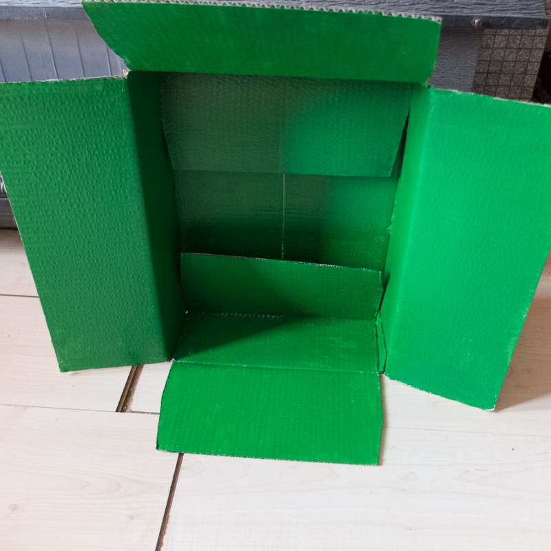 First I painted the inside of the box green