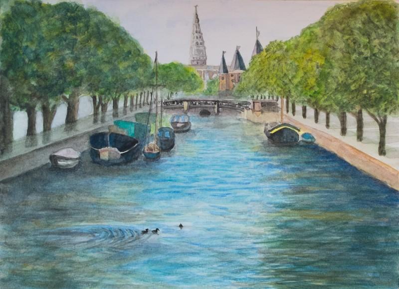 Amsterdam Canal (22,9 x cm Fabriano hot press paper)