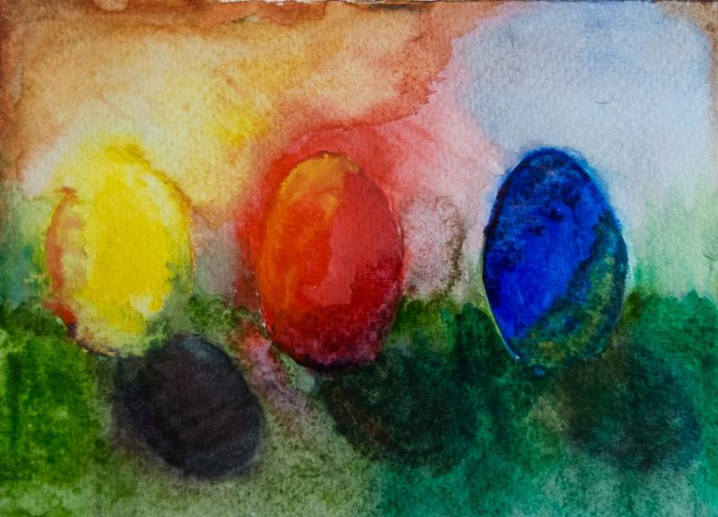 Three eggs (10 x 15 cm postcard)
