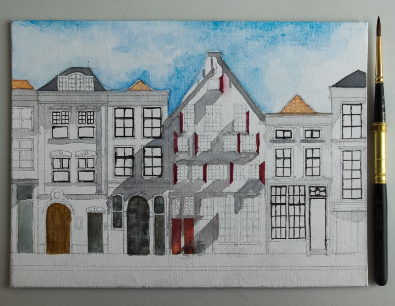 Delft houses painting (18 x 24 cm on cotton mounted on cardboard)