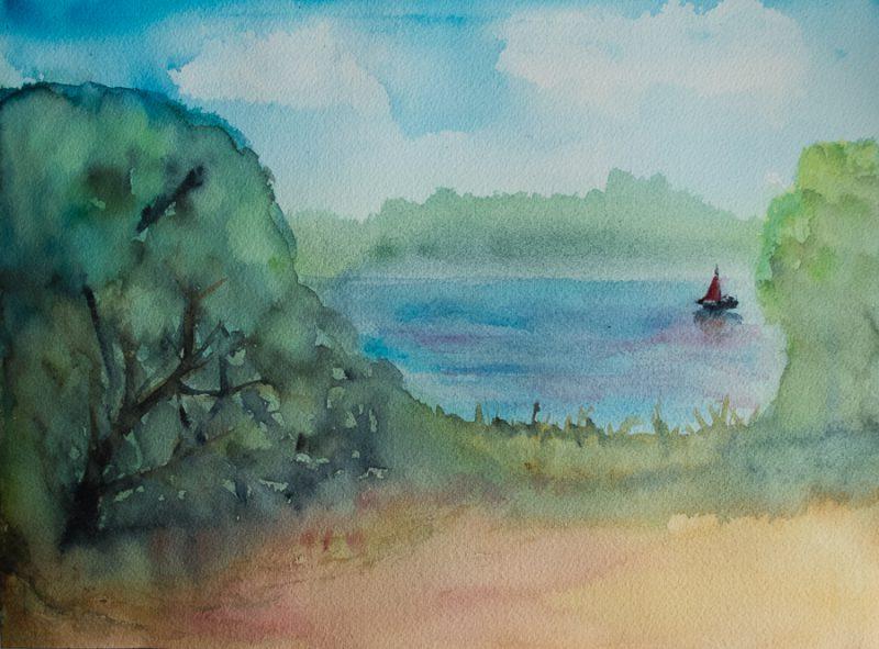 Lake with a sailboat
