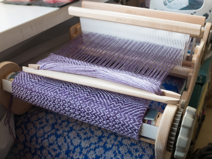 Four shaft weaving on a rigid heddle loom