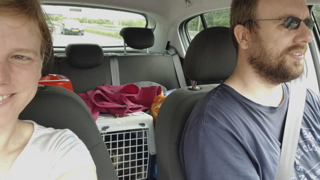 Me, Freya, and my husband in the car