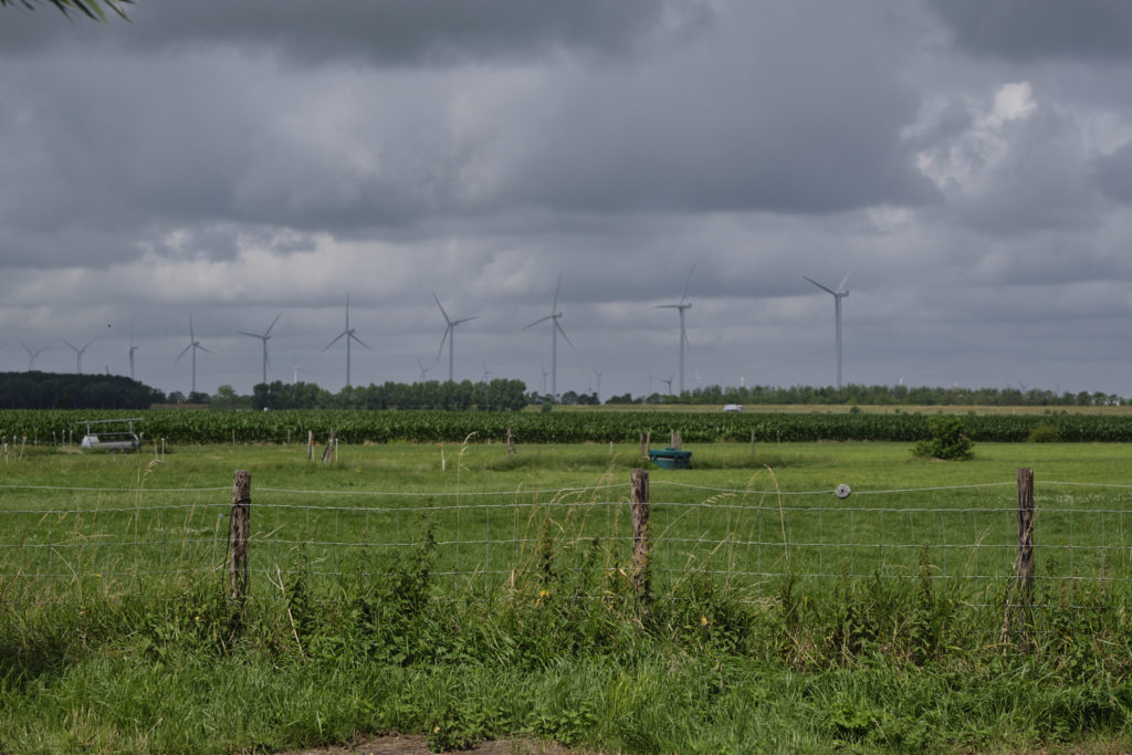Modern wind mills in the Dutch landscape