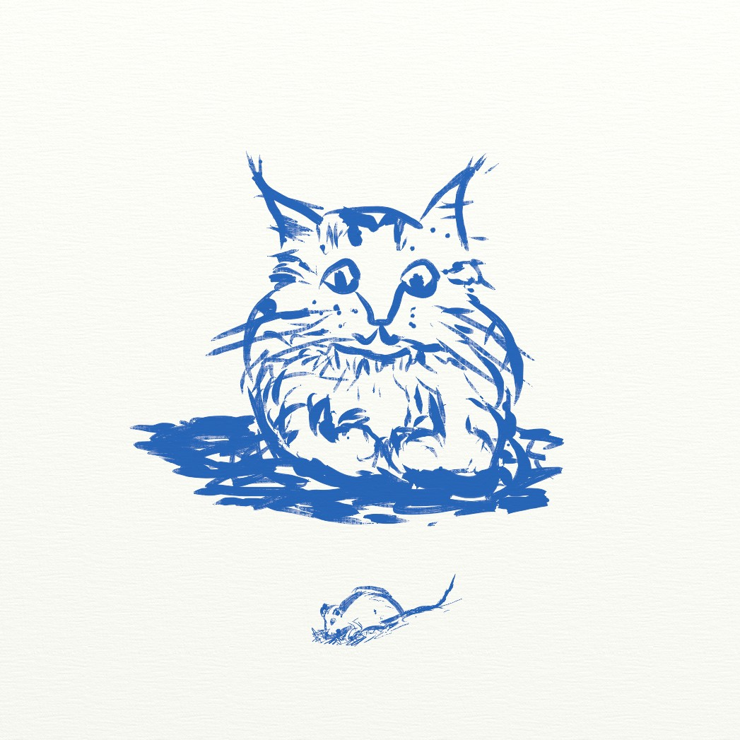 A blue ink drawing of a cat observing a mouse