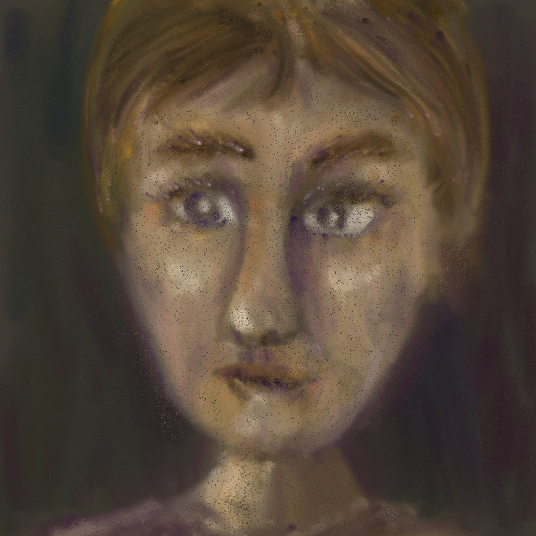 A pastel painting of a worried face