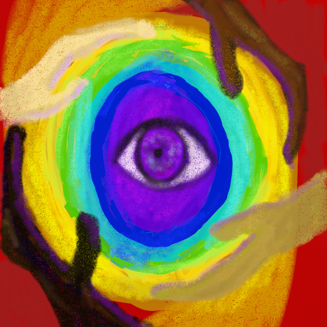 A painting of a purple eye, carried by hands in multiple colours