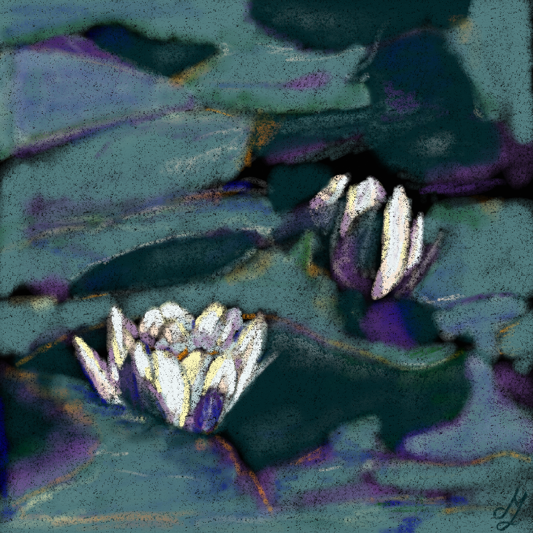 A pastel painting of waterlilies