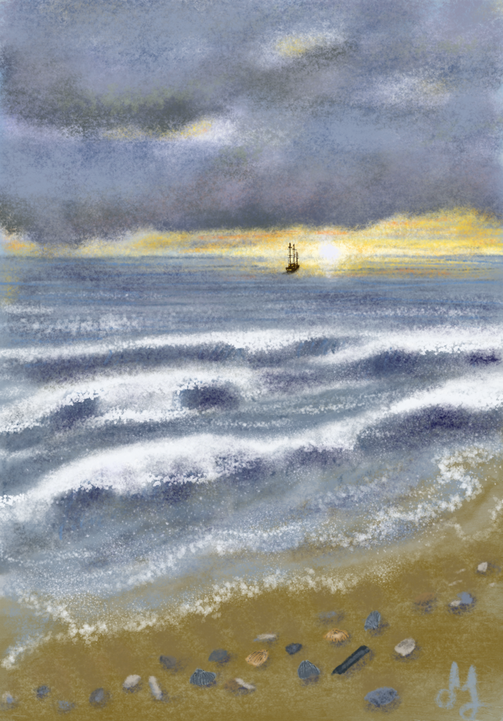 Digital seascape. Dark clouds are hanging above the sea. A small ship is sailing towards the setting sun.