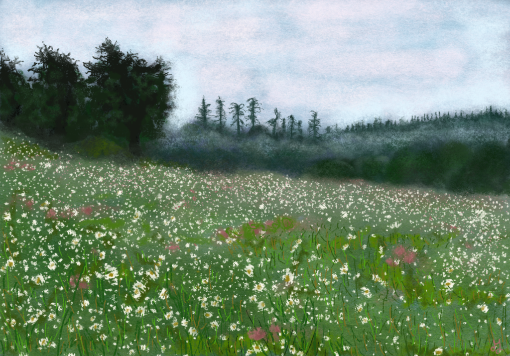 A digital painting of a flower field. In the background you see the silhouettes of trees. It's foggy there.