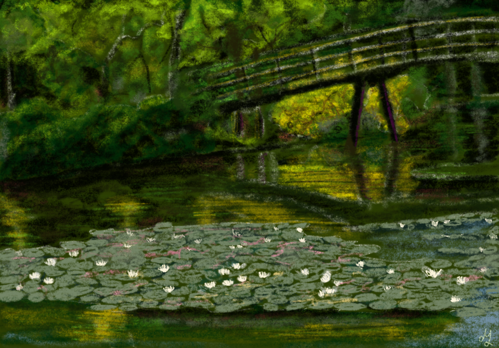 A digital painting of a pond in the Haagse Bos. In the foreground you can see waterlilies in the water, and in the background there is a curved bridge.