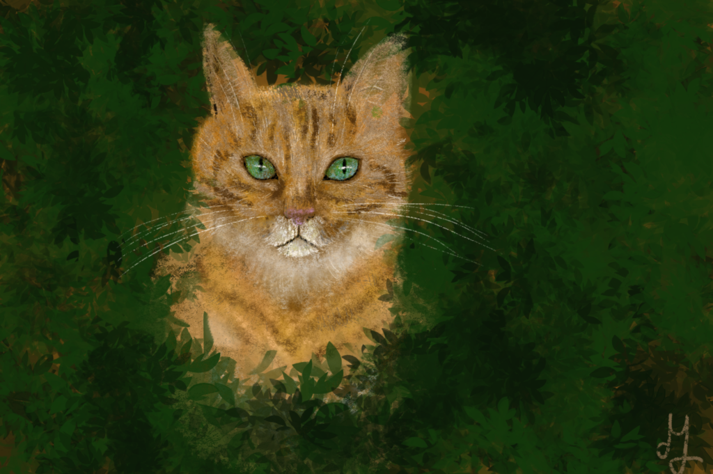 Digital painting of a ginger cat, hiding in the bushes, looking straight at you.