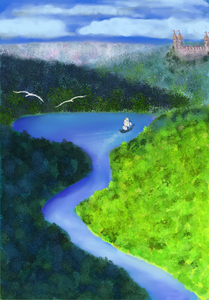 Digital painting of a landscape of hills and a flowing river. There is a little ship sailing toward the castle in the distance.