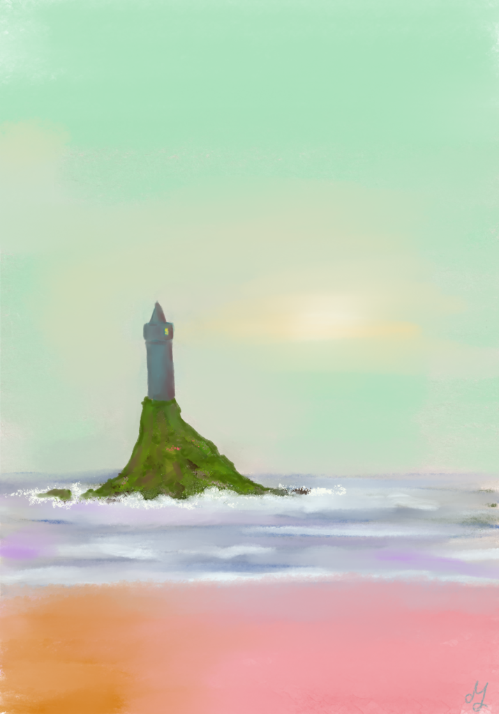 Digital painting of a lighthouse on a small island. The sky is pale green.