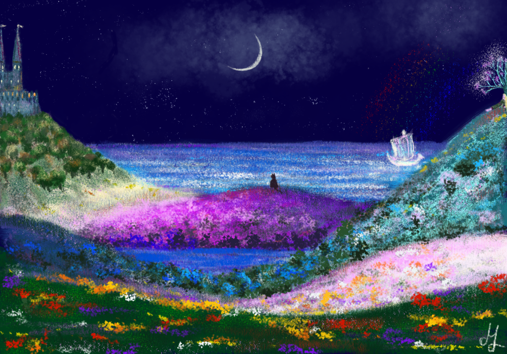 Digital painting of a landscape at night. The hills have different bright colours. The sea can be seen behind it. There is a castle on one of the hills. A cat is sitting on top of another hill. On yet another hill stands a tree, and a woman is sitting next to it. A ghost ship is sailing on the sea.