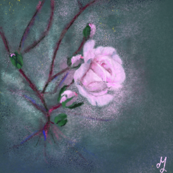 Digital painting of a light pink rose on a dark teal background. The picture looks dreamy.