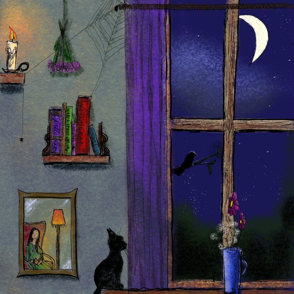 Digital painting of a witch's room. On the left there are two shelves, one with a candle, and the other with books. A mirror hangs there, showing the witch sitting and reading in her chair on the opposite side of the room. On the right is a window. It is night. A black cat is observing the raven in the tree outside. A blue case with flowers sits on the window sill.