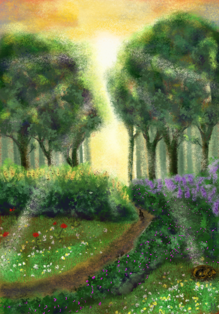 A digital painting of a landscape. In the front are small meadows filled with flowers. A cat is sleeping there. A small path leads to the forest in the back. The sun is shining behind the trees. A cat sits on the path and looks at the light.