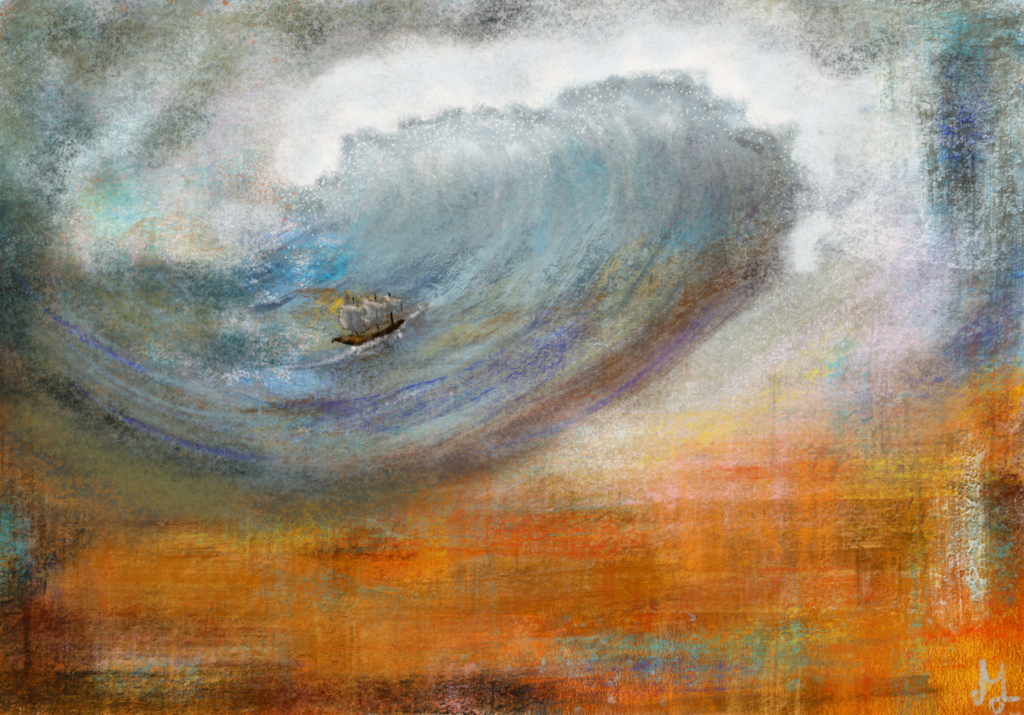 Digital painting of a gigantic wave, threatening a little ship.