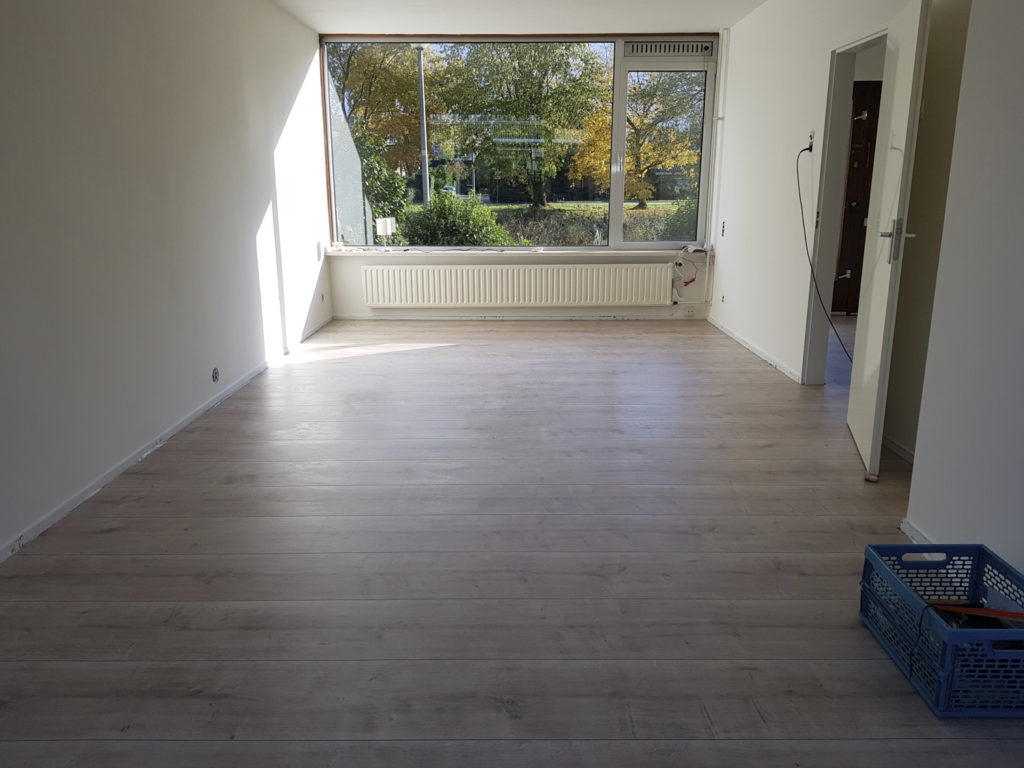 The endless laminate flooring in the living room