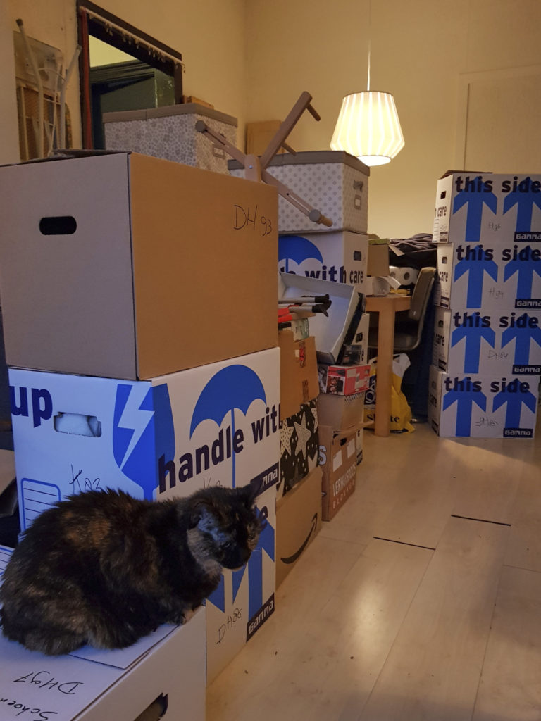 Stacks of boxes in our old living room
